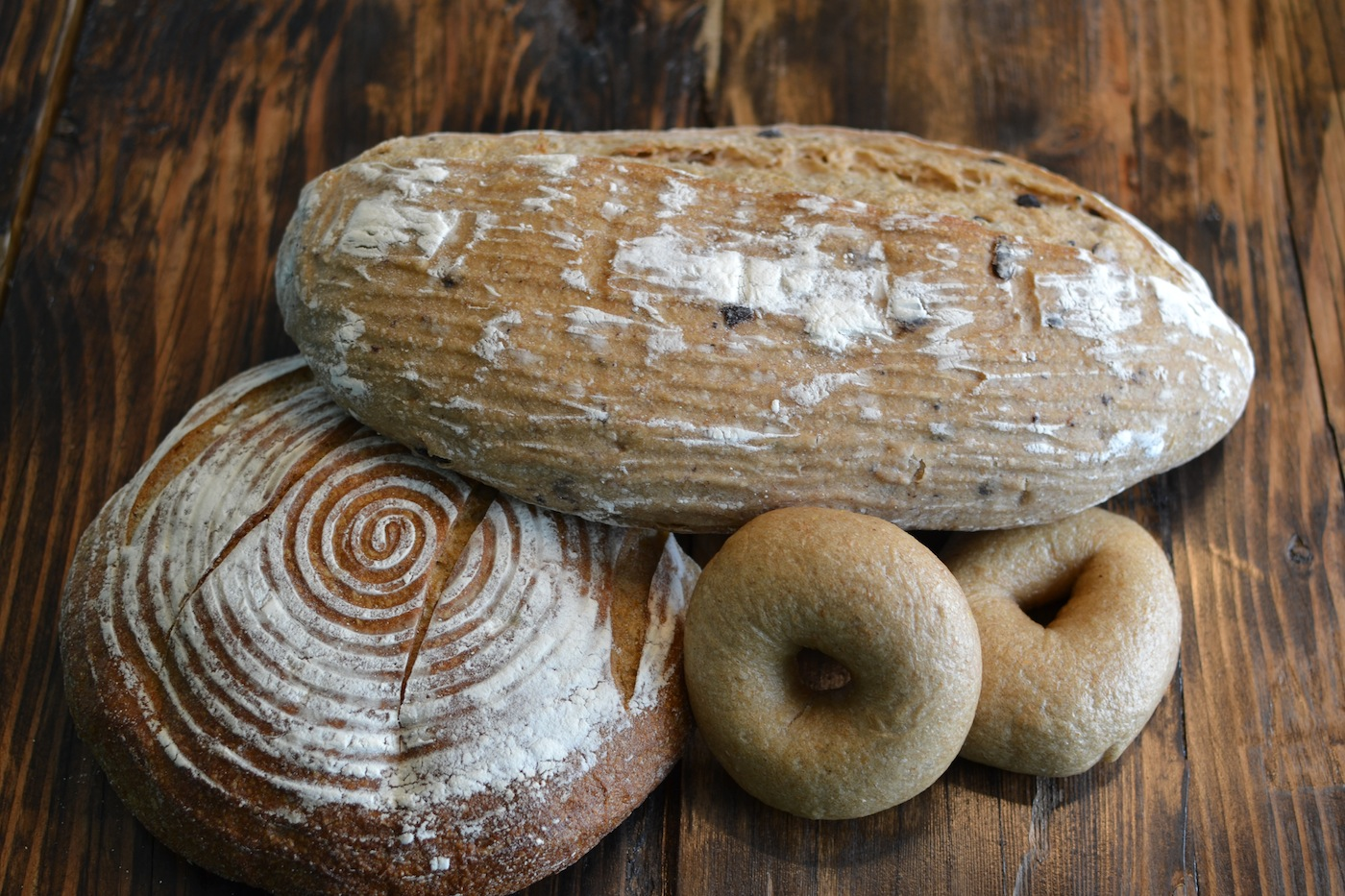 Olive Bread, Sourdough, Bagels